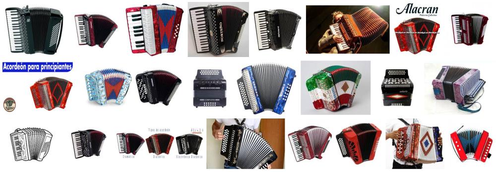 Fotos de acordeones de diferentes tipos, modelos y materiales.
