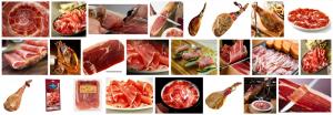 Fotos de jamones serranos expuestos encima de platos