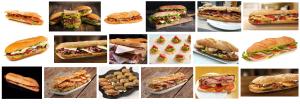Fotos de variados bocadillos entregados en mano a domicilio en Barcelona listos para comer.