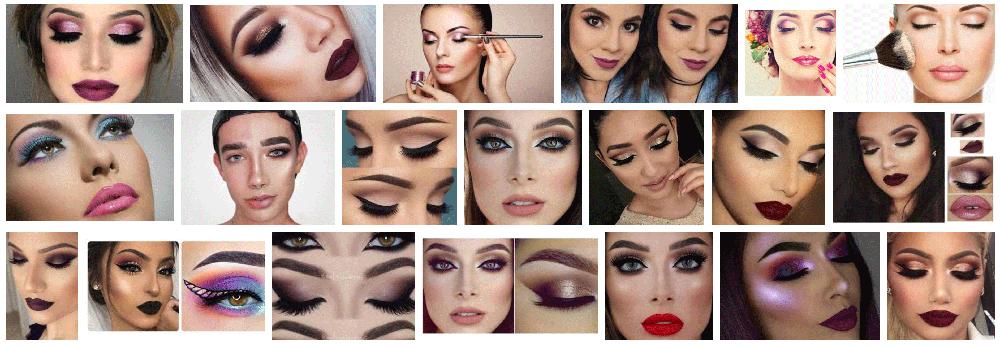 Foto de un maquilladora aplicando pinceles sobre los ojos y la nariz