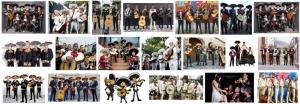 Fotos de Mariachis a domicilio en Barcelona cantando y tocando instrumentos